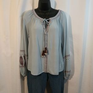 Blue Rain Chambray Blue Boho Tunic Medium